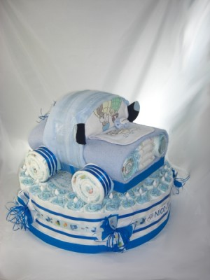 Windelauto + Tortenring blau